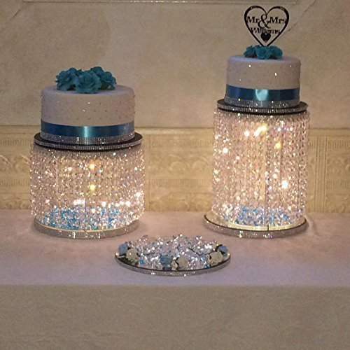 Pastel Table Base - Forbes Favors TM Single Acrylic Crystal Bead Chandelier Fairy Light Cake Stand With LED Lights for Wedding Cake, Anniversary Special Occasion ( Available in 6