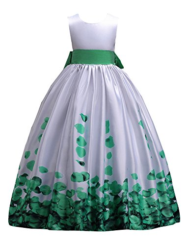 Satin Tank Sleeveless Girl Dresses Size 7 16 Age 11 12 Party Dress for Kids Princess Ball Gowns Girl Casual Beach Playwear Holiday Maxi Long Flower Girls Dress for Wedding Party (Mint Green, 160)