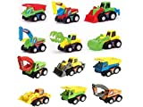 TriEcoWorld Pull Back Vehicles, 12 Pack Assorted Trucks Vehicles Racing Toy, Die Cast Vehicles Mini Toy For Kids Toddlers Boys, Pull Back And Go Car Toy Play Set