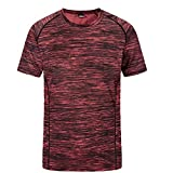 V-Neck Tees Tops,Men's New Summer Round Neck Loose Size Sports Fitness Short Sleeves Fast Dry Top,Boys' Novelty Clothing,Red,4XL