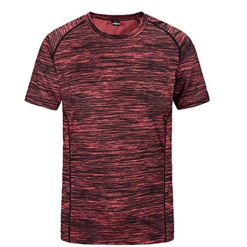 POQOQ T-Shirts Mens Fashion Casual Front Placket Basic Long/Short Sleeve Henley T-Shirts Men's Long-Sleeve Workwear T-Shirt M Red