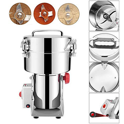 JACKBAGGIO 300g-2500g 110V New High Performance Home Stainless Electric Grain Grinder Mill Powder Machine w/Motor Blade Clips For Grinding Bean Seed Nut Spice Pepper Cereal Wheat Flour (2500g)