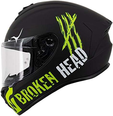 Broken Head Adrenalin Therapy 4x Sportlicher Integralhelm Motorrad Helm Schwarz Grün Matt Größe M 57 58 Cm Auto