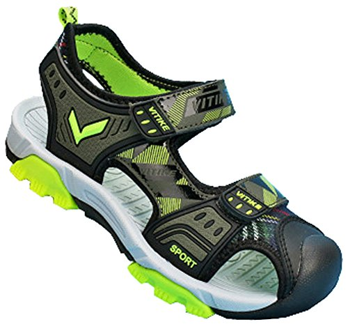 VECJUNIA Boys Adventurous Closed Toe Hook-and-Loop Sport Sandals Olive 5 M US Big Kid by VECJUNIA (Image #1)