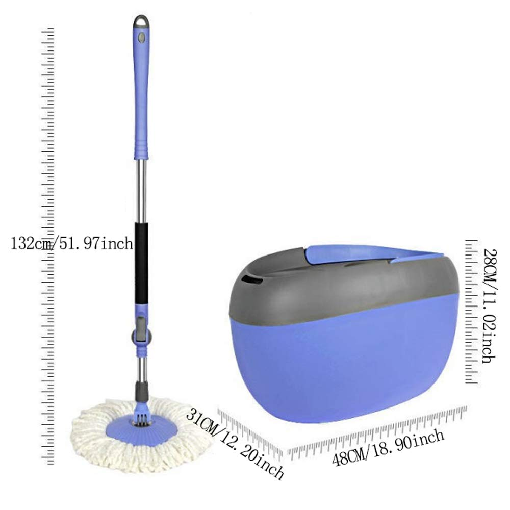 Household Single Drive Plastic Barrel Rotary Mop Automatic Mop Bucket Free Hand Wash Mop Wet and Dry by Bycws (Image #5)