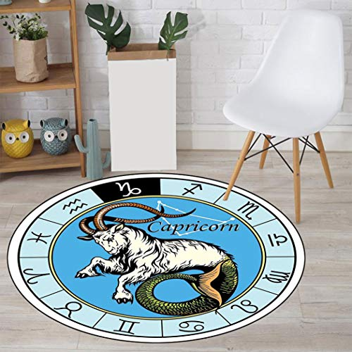 Astrology Decorative Area Rug, Ancient Illustration of Capricorn Icon with Signs Mythology Greek Saturn Design Microplush Rugs Carpets for Livingroom, 43