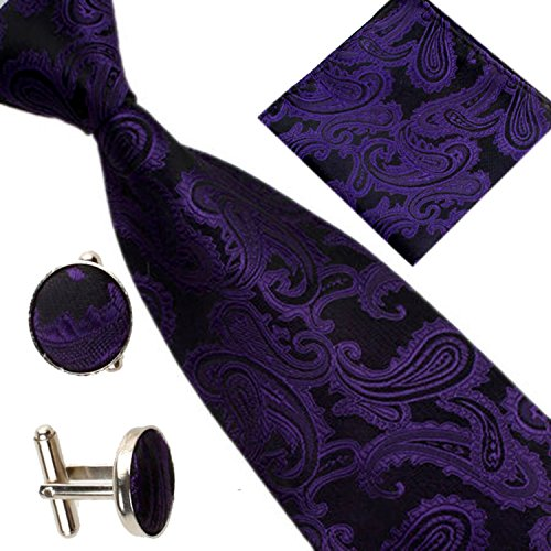 Men Purple Pocket of Tie Cufflinks Square Various Paisley Set Deep Patterned Occasions EzP1dqxnwn