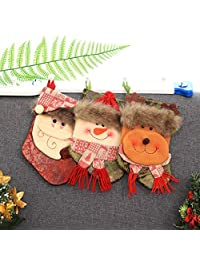 DoMoment Christmas Sock Candy Bag Cartoon Decor Non-Woven Fabric Pouch
