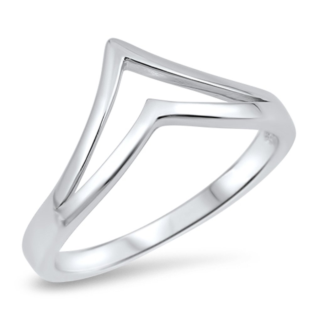 Double Pointed Chevron Thumb Ring New .925 Sterling Silver Cute Band Size 8