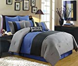 8 Piece Luxury Bedding Regatta comforter set Navy Blue / Grey / Black King Size Bedding 104