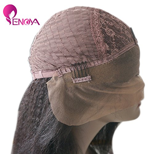Natural Looking Italian Yaki Lace Front Wigs/ Silk Top Lace Front Wigs Best Brazilian Remy Human Hair Wigs with Baby Hair for African Americans 130 Density (24'' Lace Front Wig)