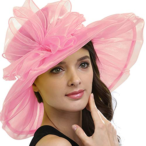 Original One Women Kentucky Derby Ascot Girls Tea Party Dress Church Lace Hats (Pink) -