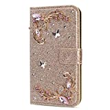 Amocase Glitter Case with 2 in 1 Stylus for Samsung Galaxy S10,Luxury Diamond 3D Crystal Butterfly Flower Magnetic Wallet Leather Stand Case for Samsung Galaxy S10 - Gold