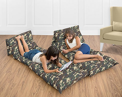 Camo Lounger - Sweet Jojo Designs Green and Brown Camo Army Camouflage Kids Teen Floor Pillow Case Lounger Cushion Cover (Pillows Not Included)
