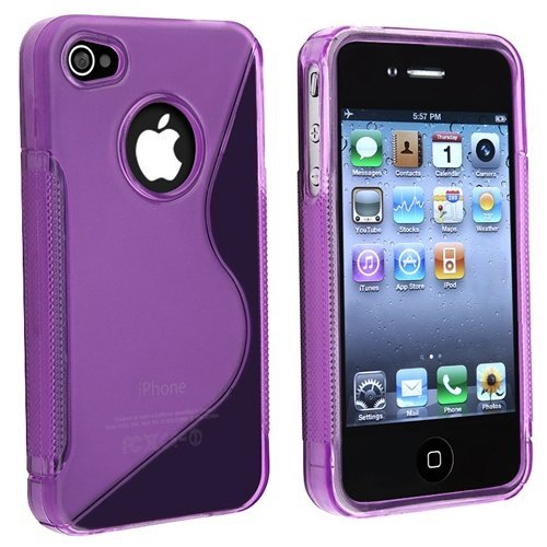 - TPU Rubber Skin Case Compatible with Apple iPhone 4, Clear Dark Purple S Shape