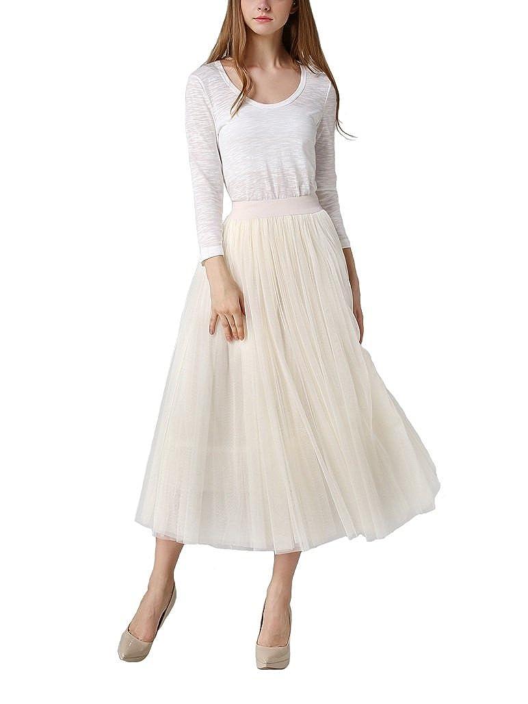 6ac4d3c3d9 DEBAIJIA Donna Gonna Tulle Lunga Moda Pieghe Maglia Principessa Gonne Vita  Elastica 4 Strati per Festa Danza