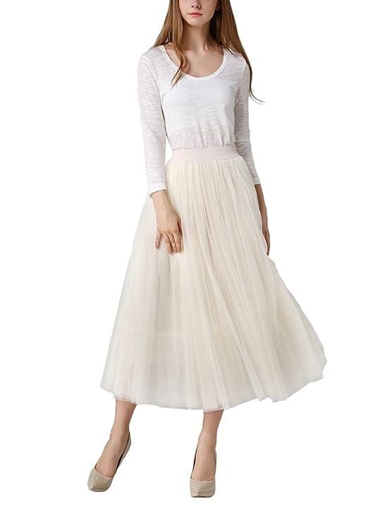 Falda larga de Tul plisada color blanco con cintura elastica, para fiesta de noche, bodas, eventos.