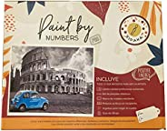 Cuadro decorativo. Diseño Roma. Kit de arte paint by numbers, pinta con números Xidaka. Lienzo, pinturas y pin