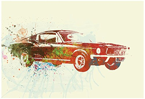 Ford Mustang Watercolor Poster by NaxArt 19 x 13in from Poster Revolution