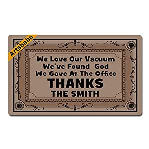 "Artsbaba Personalized Your Text Doormat We Love Our Vacuum We've Found God Doormats Monogram Non-Slip Doormat Non-woven Fabric Floor Mat Indoor Entrance Rug Decor Mat 30"" x 18"""