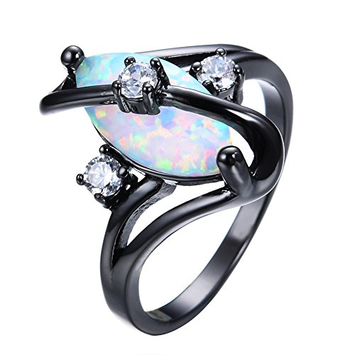 Adeser-Jewelry-Womens-S-Promise-Wedding-Rings-Black-Gold-Plated-Lab-Gemstone-Ring-White-Opal-Ring