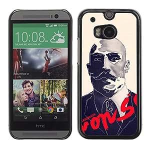 MobileHut / HTC One M8 / Boxer Sir Moustache Movie Retro / Delgado Negro Plástico caso cubierta Shell Armor Funda Case Cover
