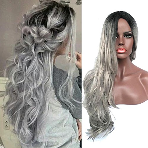 Doren Synthetic Long Wavy Curly Wigs for Women Rose Net Cosplay Wig High Temperature Silk Ombre Black/Silver Gray 24 (Ombre Silk Dress)