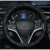 Rueesh Leather Car Steering Wheel Cover - Heavy Duty, Thick, Durable, Elegant, No Smell, Universal 15 Inch Steering Cover, Anti-slip Embossing Pattern B, Black with Black Line
