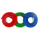 Building Block Tape Rolls 9.8 Ft. In Total : 3.28 Ft. Each Color Compatible with Lego Blocks Self-Adhesive Red Blue and Green, Non-Toxic Perfect for Kids of All Ages set 3 packs