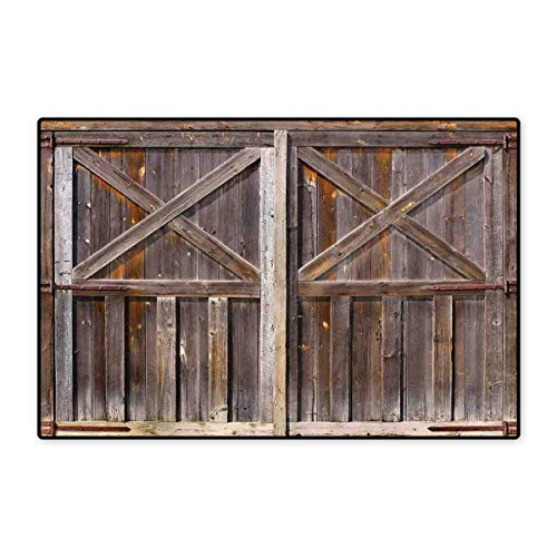 (Rustic Floor Mat for Kids Old Wooden Barn Door of Farmhouse Oak Countryside Village Board Rural Life Photo Print Floor Mat Pattern 32