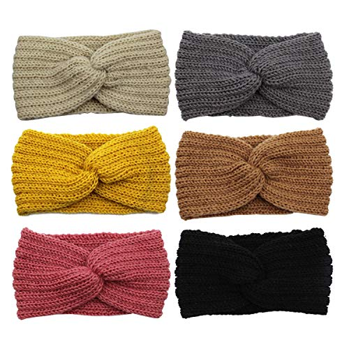 DRESHOW 10 Pack Boho Headbands for Women Girls Criss Cross Elastic Hair Band Twisted Head Wrap (10 Pack Crochet A)