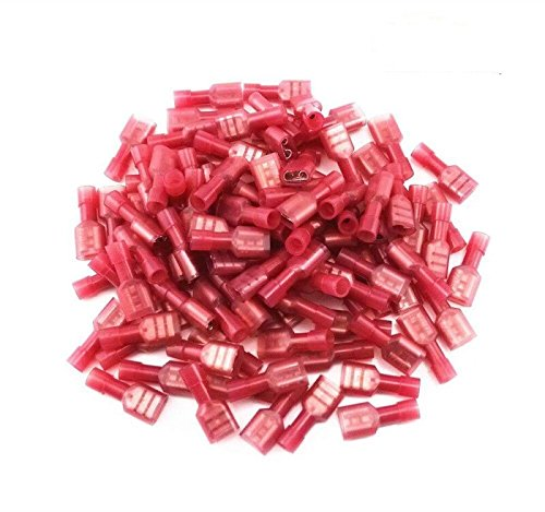 Bestsupplier 200 pcs Male(100pcs) Female(100pcs) Red 22/18- Gauge Nylon Female Fully-Insulated Quick Disconnects Wiring Spade Wire Crimp Terminal ()