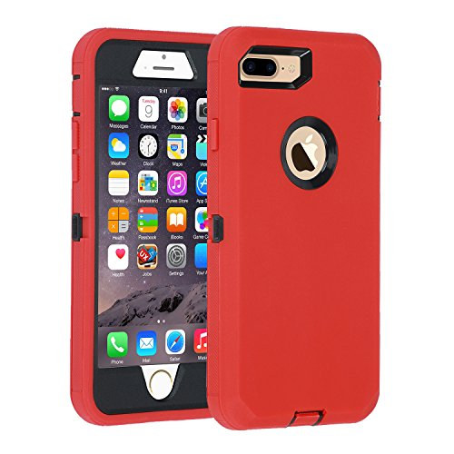 Case for iPhone 7 Plus/8 Plus Heavy Duty Armor 3 in 1 Built-in Screen Protector Rugged Cover Dust-Proof Shockproof Drop-Proof Scratch-Resistant Shell Compatible with Apple iPhone 7+/8+ 5.5,Red/Black