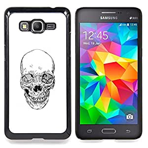 - Skull White Black Death Metal Tattoo - - Snap-On Rugged Hard Cover Case Funny HouseFOR Samsung Galaxy Grand Prime G530H G5308