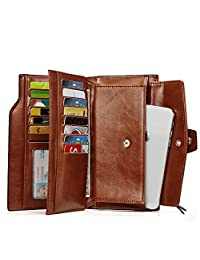 Oil Wax Leather Wallets for Women Large Clutch Ladies Long Card Holders Organizer brown
