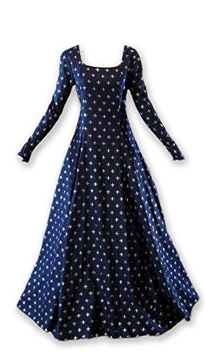Renaissance Medieval Gown with Fleur De Lis Pattern Navy ()