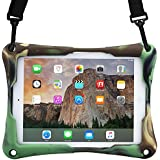 10-10.4'' inch tablet case, COOPER TROOPER 2K Shoulder Strap Rugged Heavy Duty Tough Bumper Protective Drop Shock Proof Rubber Silicon Carry Kids Toy Work Holder Carrying Cover Bag, Stand (Military)
