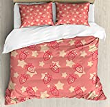 Fruits Duvet Cover Set King Size by Ambesonne, Cute Strawberries over Star Figures Organic Health Eating Tasty Artsy Design, Decorative 3 Piece Bedding Set with 2 Pillow Shams, Dark Coral Peach
