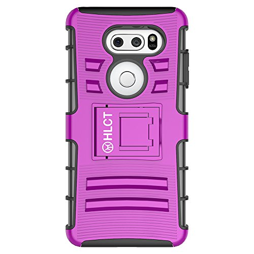 Price comparison product image LG V30 Case,  HLCT Rugged Shock Proof Dual-Layer PC and TPU Case With Built-In Kickstand for LG V30 (2017) (PurpleBlack)
