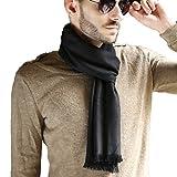 HH HOFNEN Men's Soft Plaid Scarf Cashmere Feel Autumn Winter Scarves (Solid Black)