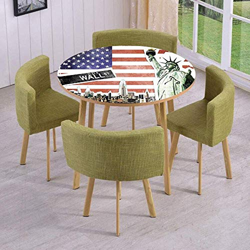 SINOVAL Fashion Round Table/Wall/Floor Decal Strikers/Removable/NYC Collage with Famous Monuments Wall Street and Manhattan Urban Display]()