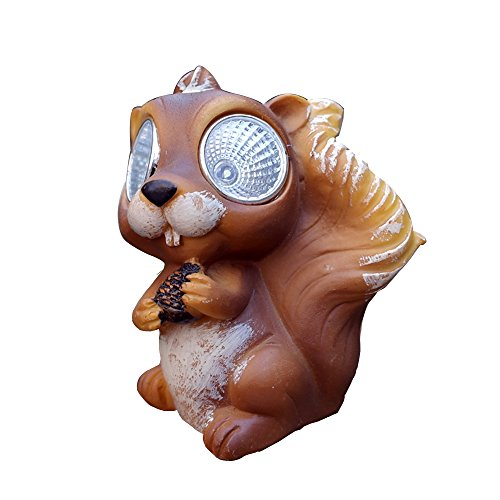 WowHo Solar-Powered Outdoor LED Light Garden Décor, Fun Polyresin model Outdoor LED Solar Spotlights Waterproof landscape Garden Lights Lawn Lamp - Light Landscape Path Squirrel