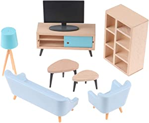 Dollhouse Miniature Furniture Dollhouse Living Room Set, Sofa, Coffee Table, TV, Bookcase, TV Cabinet, Doll Pretend Play Accessories Living Room Model Handcraft Kit