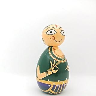 12,7cm dipinto a mano in legno Bharatanatyam Dancer   in legno indiano classico Dancer Doll.