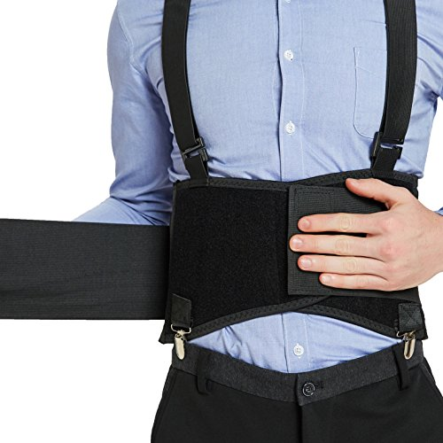 Adjustable Black Clip - Back Support Belt with Detachable Suspenders & Removable Pants Clips - Lumbar Brace - Adjustable, Light, Breathable - Shoulder Holsters - Work, Posture - Neotech Care - Black - Size S