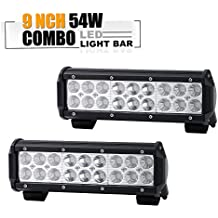 9 10 Inch LED Work Light Bar Off Road Driving Lamps Backup Bumper Reverse Front Grille Guard Light Truck Boat Atv Ford F150 F250 4X4 Jeep Comanche Jk Pickup Dodge Ram DRW F350 4Wheeler Zero Turn Semi
