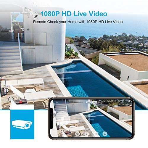 Wansview Outdoor Security Camera, Wansview 1080P Wireless WiFi Home Surveillance Waterproof Camera with Night Vision, Motion Detection, Remote Access, Works with Alexa -W4-2PACK
