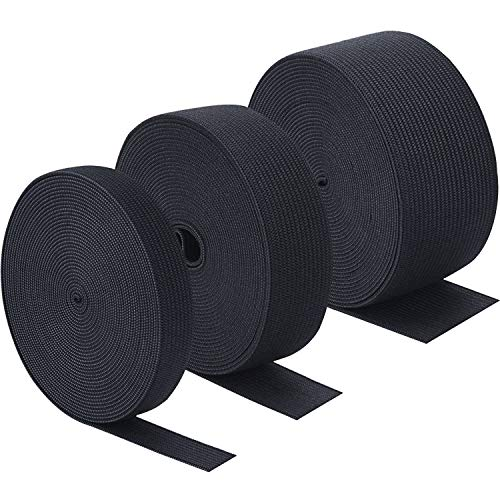 - Sunmns 3 Rolls Sewing Stretch Elastic Band Spool, 3/5, 1, 1-1/2 Inch in Width, 5.5 Yards/Roll (Black)