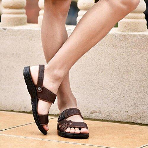 Tamaño NSLXIE Brown a Hombres Summer Chanclas eu42 Genuino EU42 Beach Sandalias 43 38 Antideslizante Cuero Zapatillas Casual Toe Open Zapatos BOrnBUg