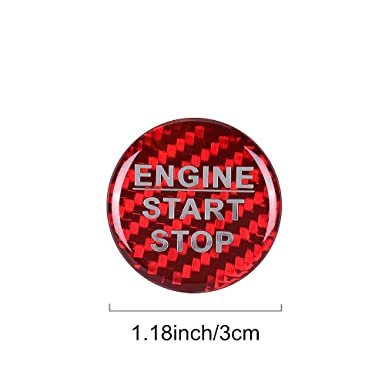 LANZMYAN Car Carbon Fiber Engine Start Stop Button Cover Trim Sticker for Toyota RAV4 Corolla Camry Highlander Crown Avalon Vios C-HR 86 Alphard Red